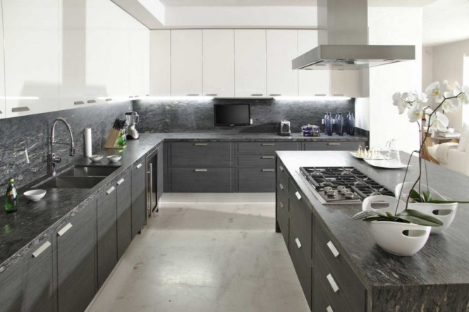Gray white kitchen