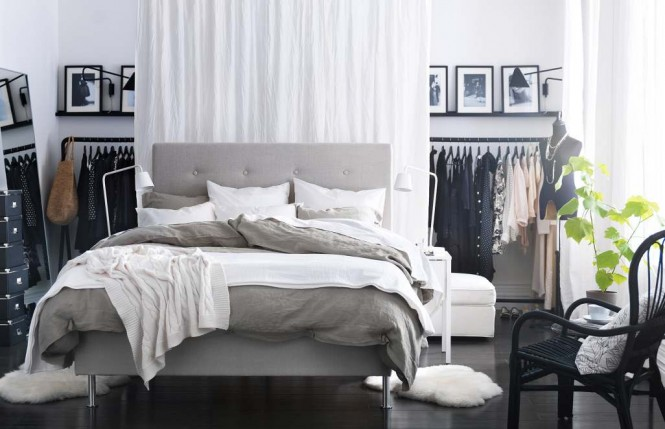 Grey white bedroom