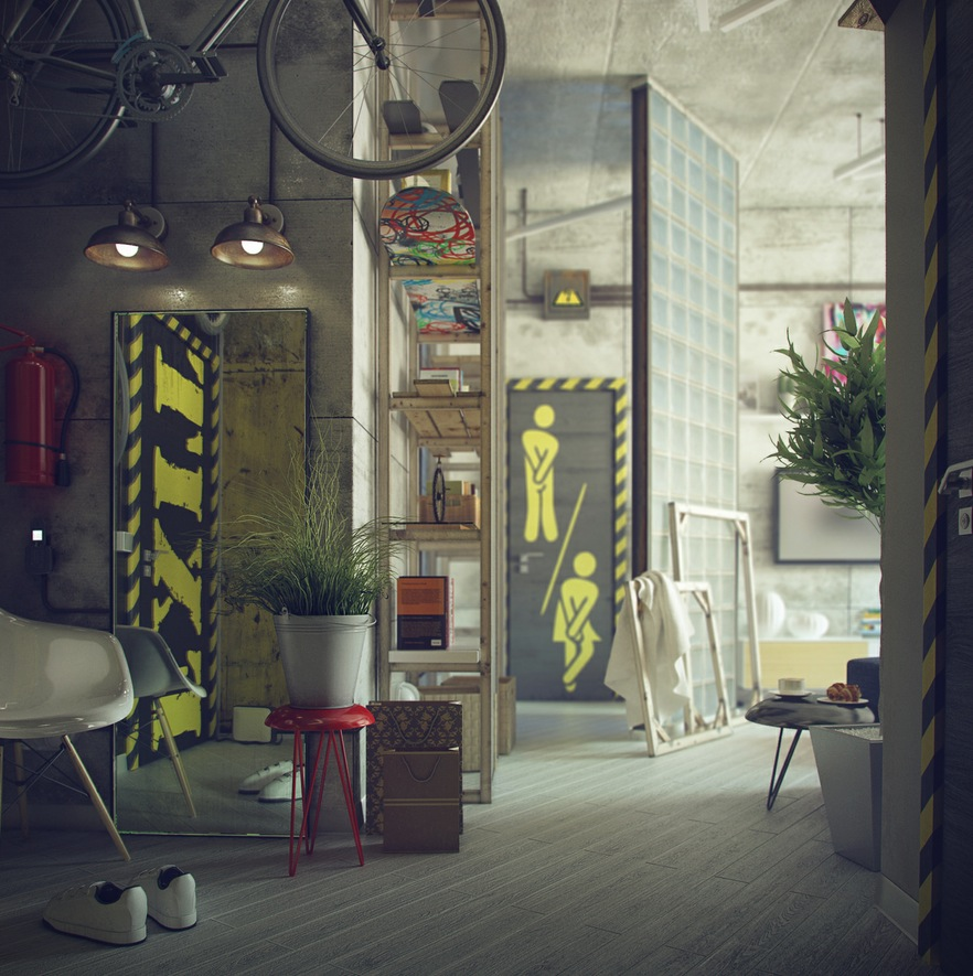 Industrial Home Interior Design: Casual Loft Style Living