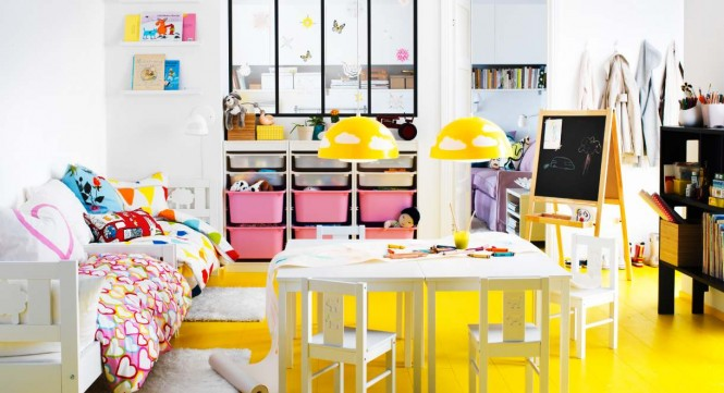Kids play rooms, home offices and hobby rooms are encouraged to embrace fun and frivolity with the use of bold Ikea textiles.