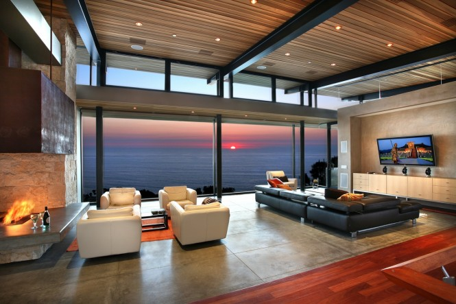 Panoramic ocean view modern living room