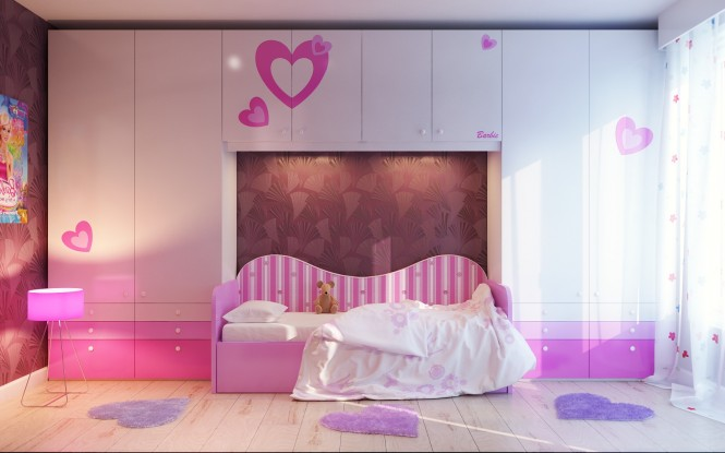 Via VladoMNA Barbie and heart themed room is at the pinnacle of girlie glamour, whilst pink floral wallpaper conjures equal femininity without the branding. White furniture offsets the sweetness to keep the overall look of the scheme fresh and light.