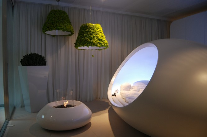 This pod-like piece provides a space age look, and is a softer option to typically hard-edged lines.