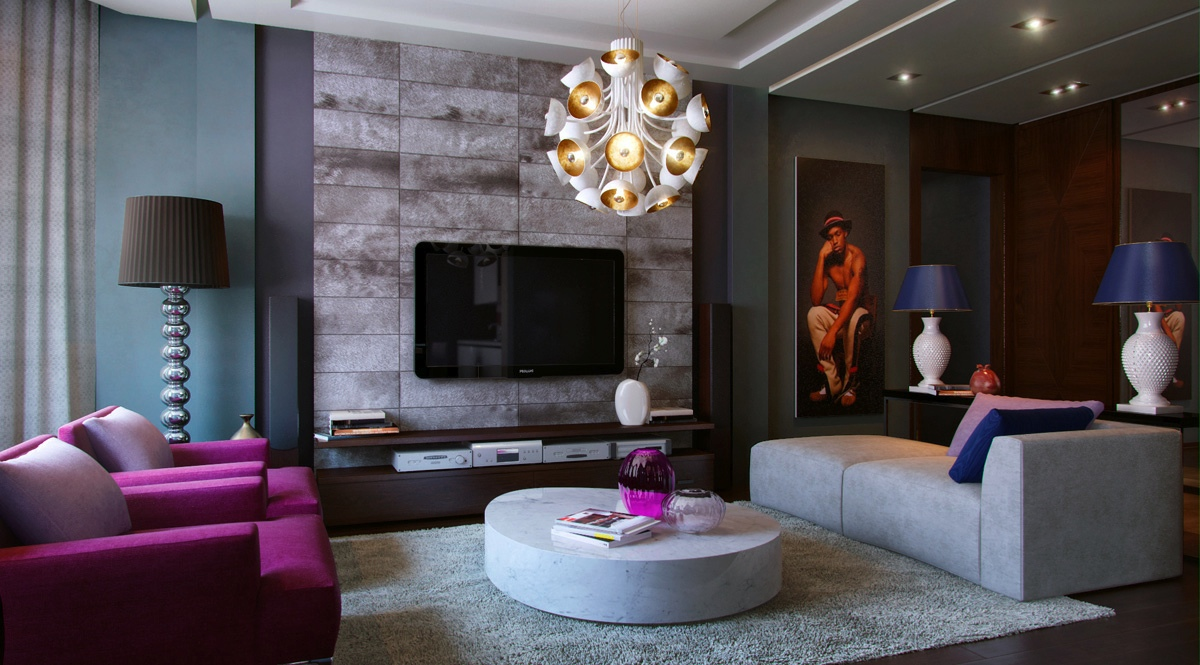 Living modern with nature tones color blasts Purple living room