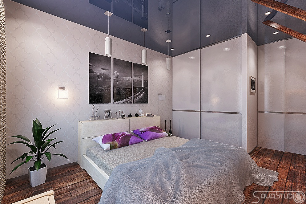 Purple White Bedroom Blue Gloss Ceiling Treatment