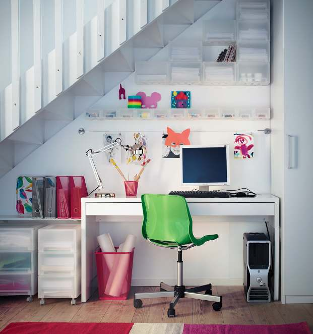 White understair home office
