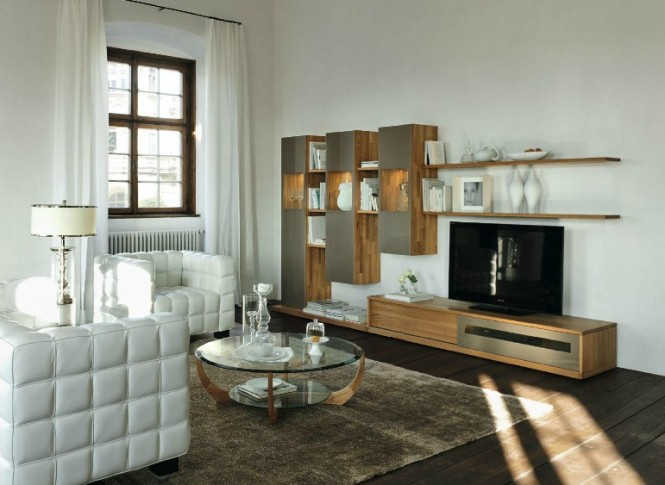 The company have played with layout of wall mounted units and low level storage to produce eye-catching entertainment walls and living room storage systems, whilst maintaining space practicality and stylish subtlety.