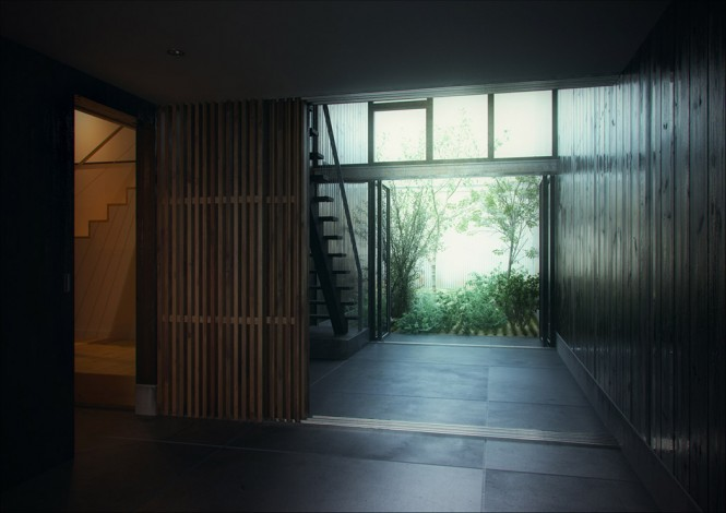Wood clad entrance hall