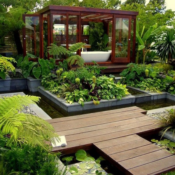 You could of course move your bathtub right out to the middle of your garden! Consider an independently standing garden room if you aren't overlooked by neighbors, or perhaps a small screened area just beyond the boundary to create a bath time veranda in the open air–though this is only recommended for those living in warmer climates!