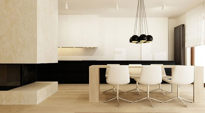 Soft creamy tones sandwiches an ebony stripe across the expanse of this dining space.