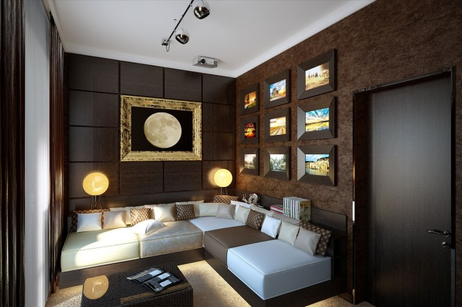 At the opposite end of the scale, we see the same home decorated in a far more deep and sumptuously sophisticated lounge décor, bathed in a chocolate brown textured wallcovering, and accented in a lunar theme through moon wall art and twin celestial lamps.