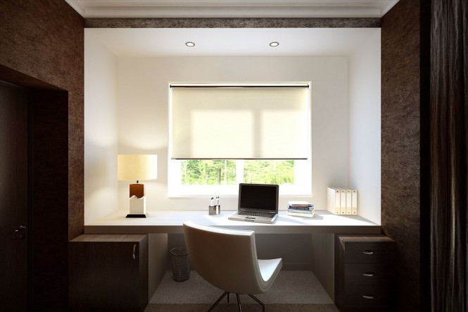The mature look continues through into a home office with complimentary dark storage cabinets and wood bark texturing.