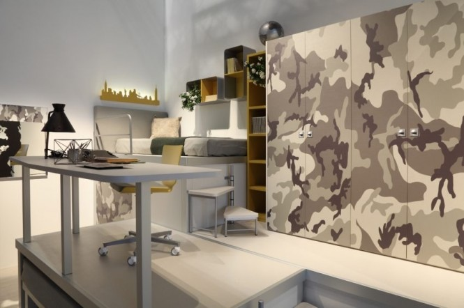 Camouflage print provides an edgy option for pattern over expanses of wardrobe doors, which are typically on the plain side. Steps up to a raised platform bed turn on a pole axis to allow them to also be utilized as a small library ladder at the neighboring shelves.