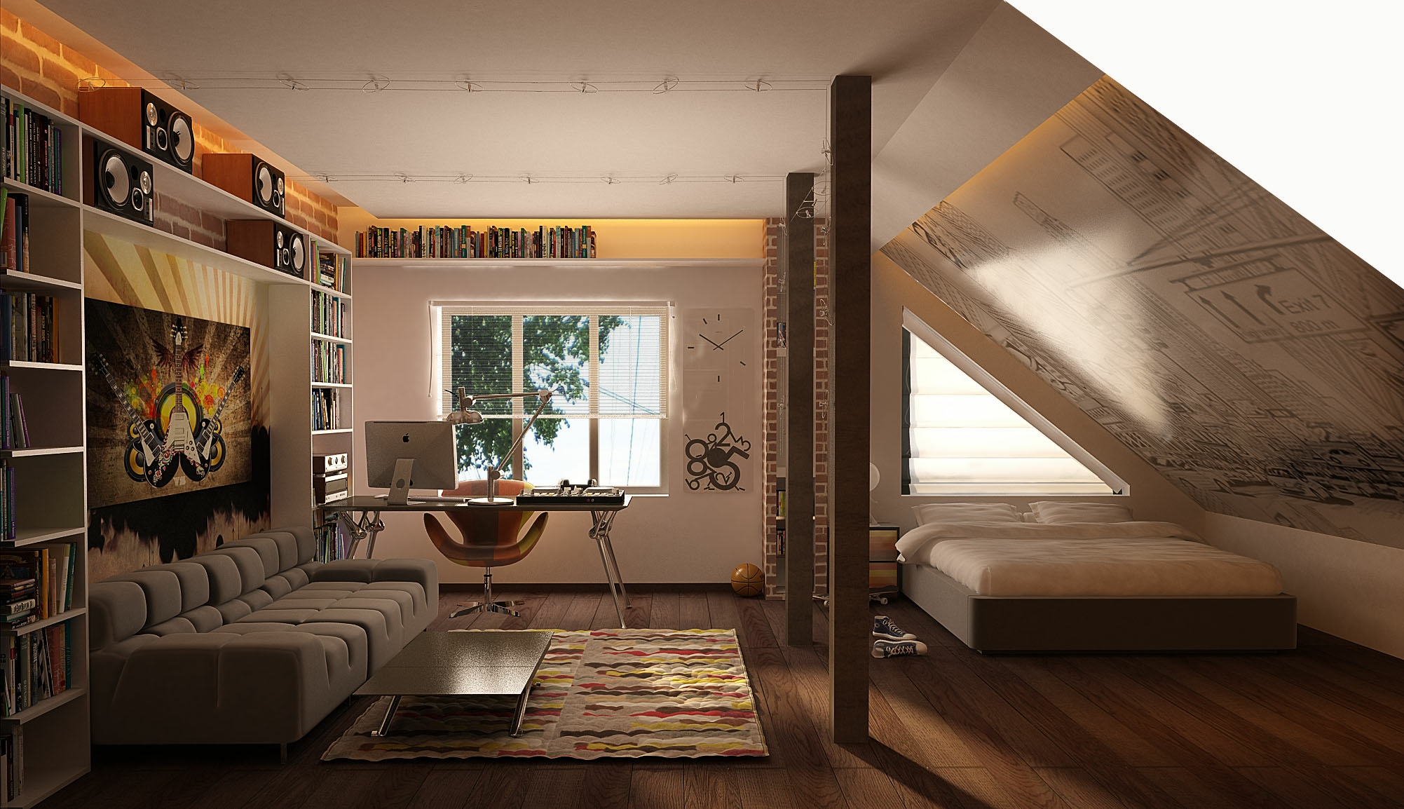 This laid-back attic space utilizes space up to the rafters to house ...