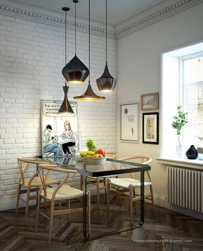 Via GeeduubraakA cluster of different shaped pendant lights gathered over a dining table creates a perfect focal point in any style scheme.