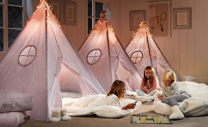 An adorable take on the sleepover trundles these mini teepees provide the perfect place for late night chatting and games.