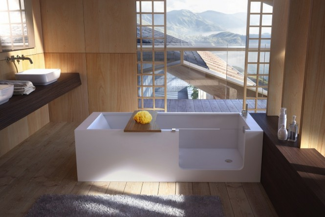 This bathtub allows easy walk-in access without any compromise on style, with a neat sheet glass panel acting as an inconspicuous doorway.