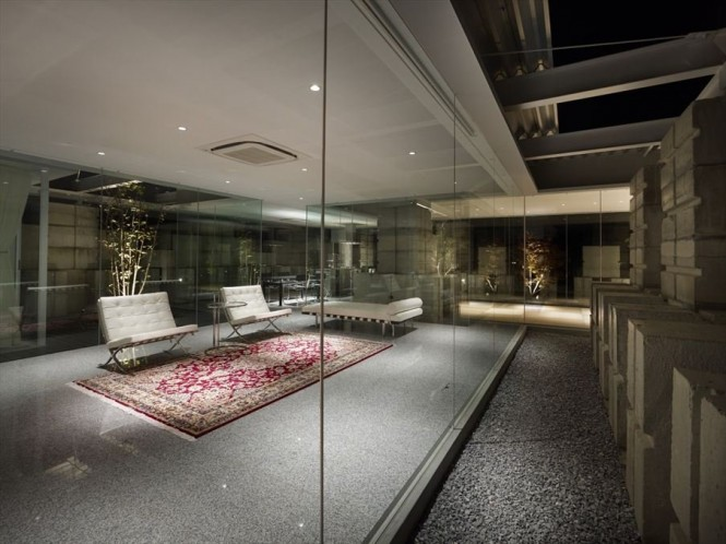 Glass walled living room