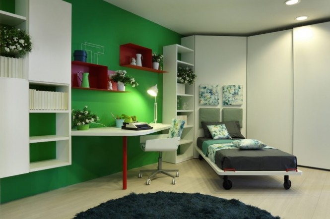 Green red white childs room