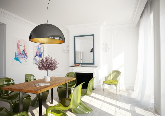 Via Artem OganaynConsider contrasting the color of your dining chairs to the color of your dining table for a slightly eclectic effect.