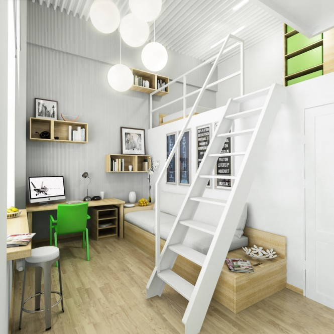 A mezzanine level allows more space for study in this shared room, with individual desks skirting two walls of the perimeter.