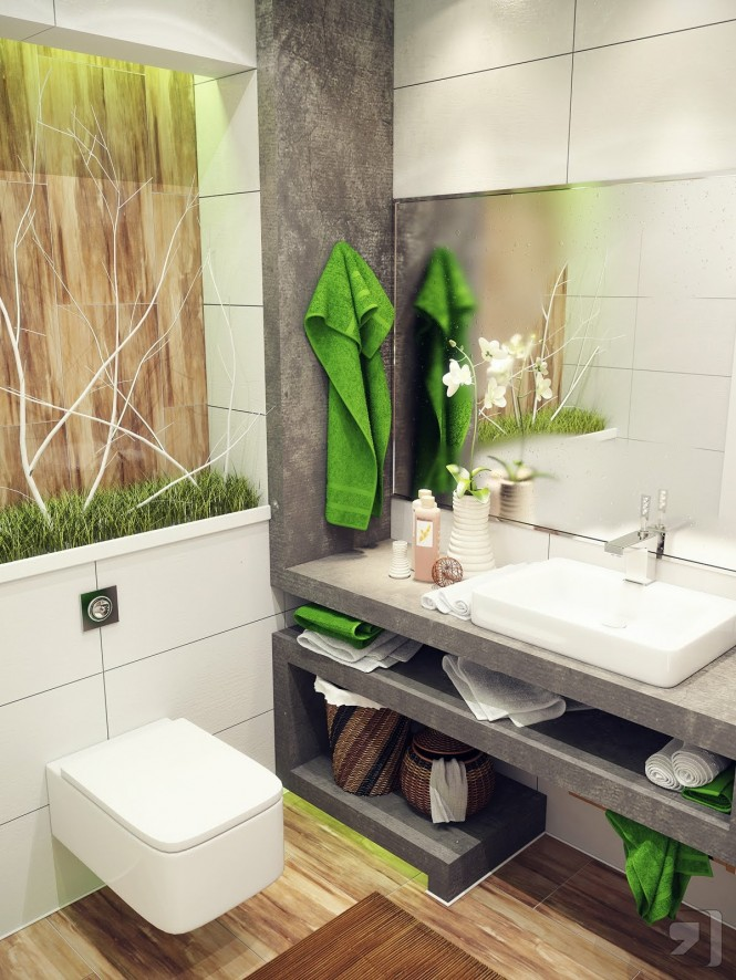 Introducing a splash of nature into a tiny washroom is a superb way to encourage a feeling of open and airy space. A zing of bright green against a clean white and earthy slate gray backdrop works wonders, with just a splash of wood tone thrown in for warmth and texture.