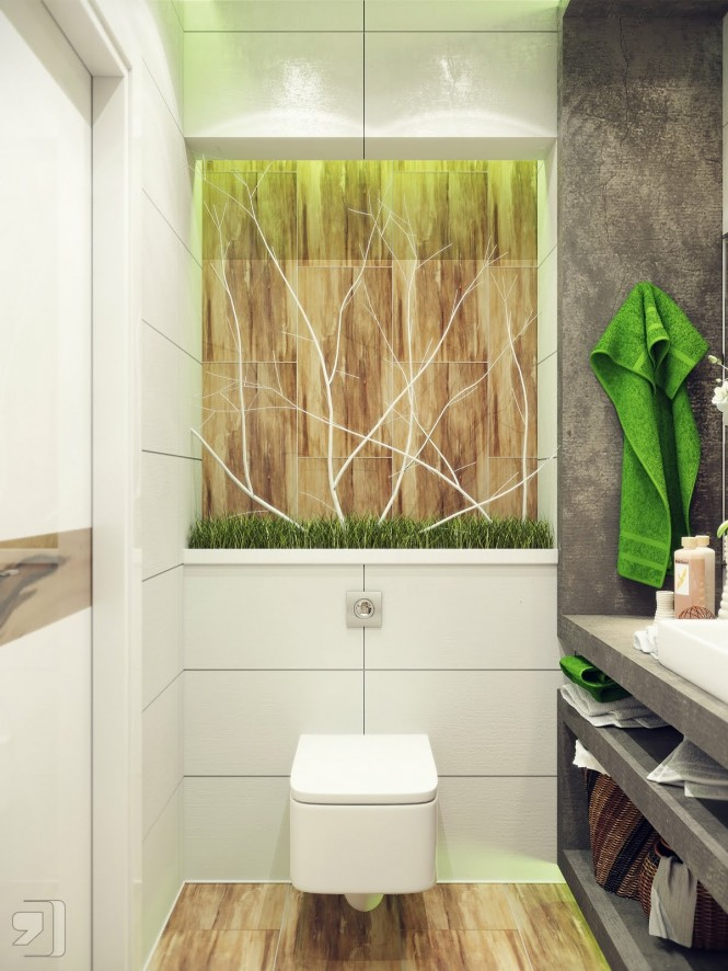 Green white nature inspired bathroom