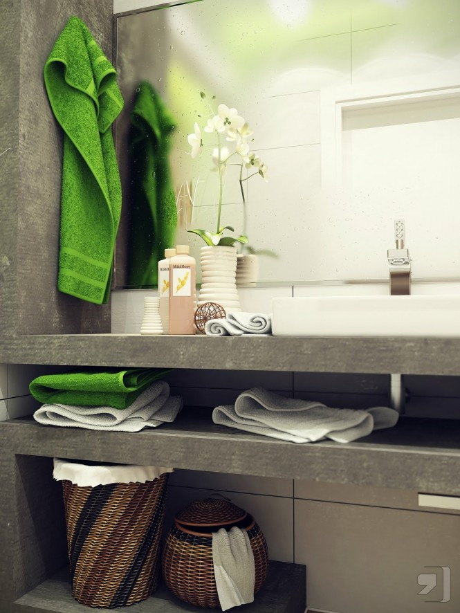 Green white small bathroom design