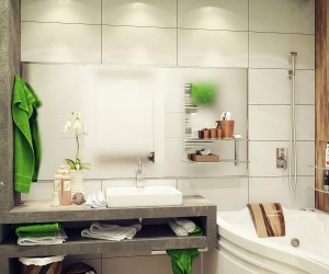 Green white small bathroom ideas