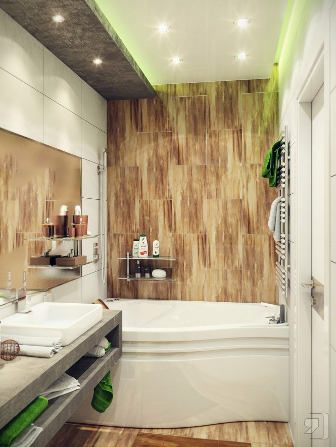 Green white wood bathroom