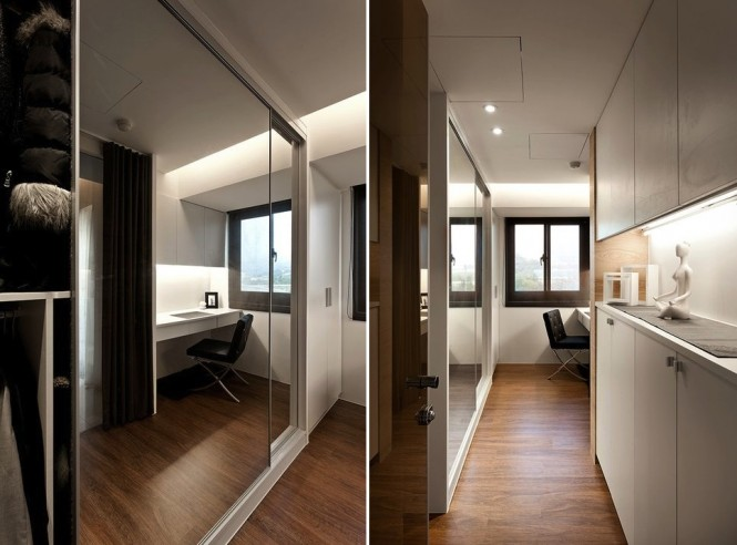 Storage spaces situated in narrow areas are mirror finished to give a feeling of more space, as well as to bounce more light around restricted quarters.