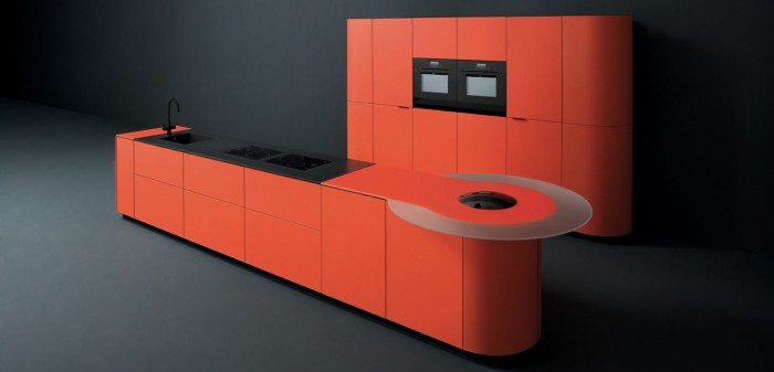 Orange or red cabinetry, contrasted against glossy black or white accents, will pop with character and fun.