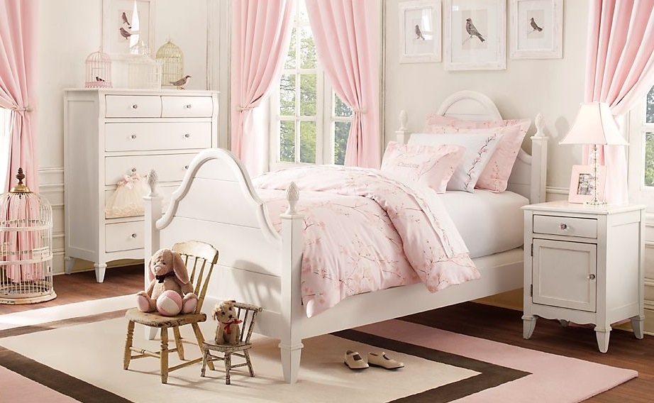 Traditional little girls rooms Pink room with white furniture
