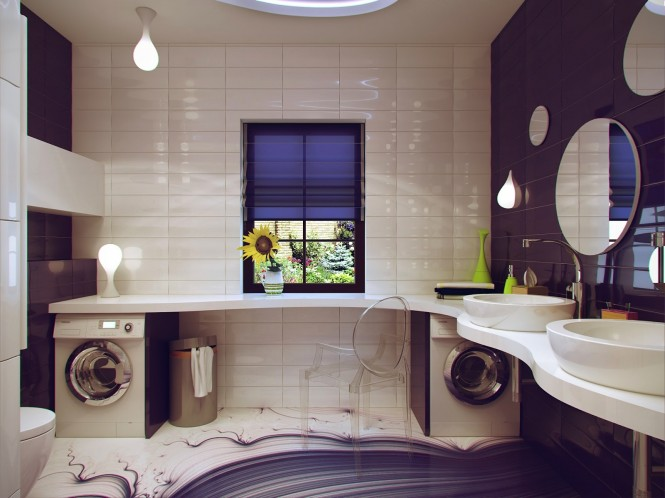 Purple white bathroom design