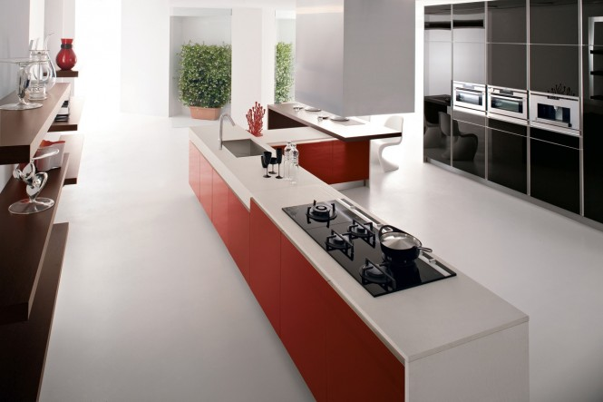 Red kitchen units white corian worktop