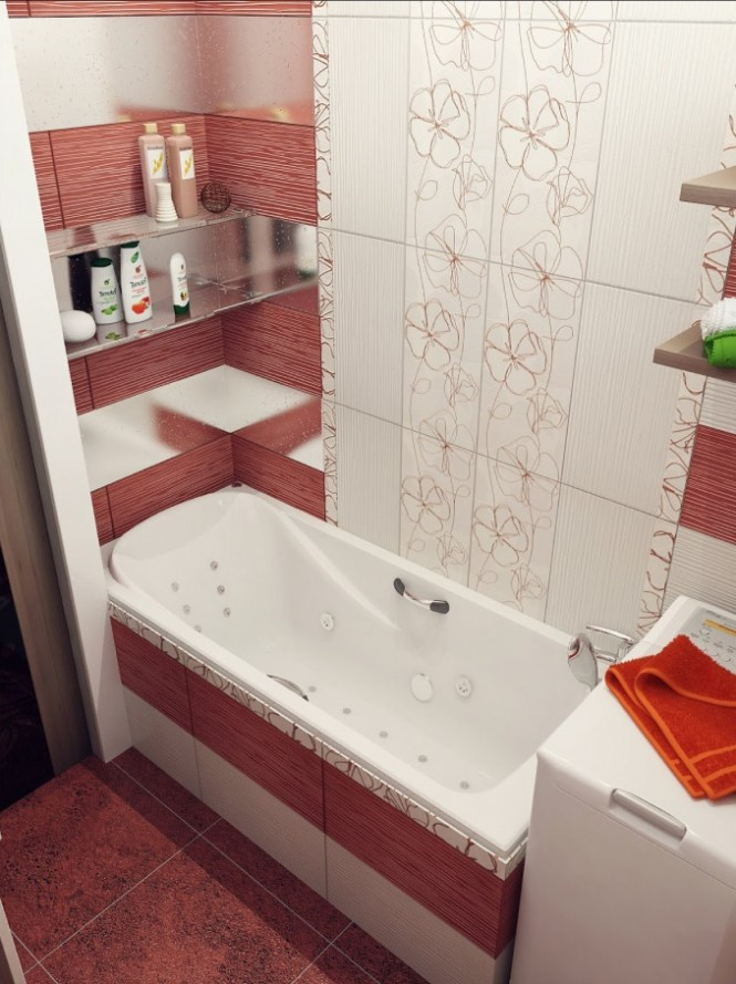 Red white floral bathroom tile