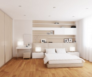A low level bed allows the room scheme to breathe without obstruction, whilst the headboard softly melts away into the background.