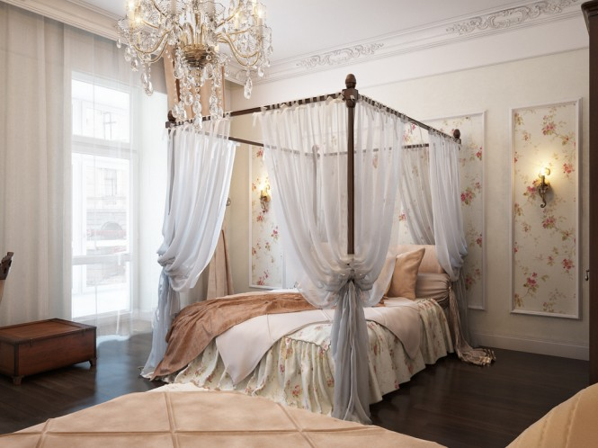 By Irena Four-poster beds provide instant romance when swathed in sheer, pooling fabric, and the tall panels of floral wall covering behind this one bring an extra feminine touch to the room, helped along by pretty wall sconces and a central sparkler.