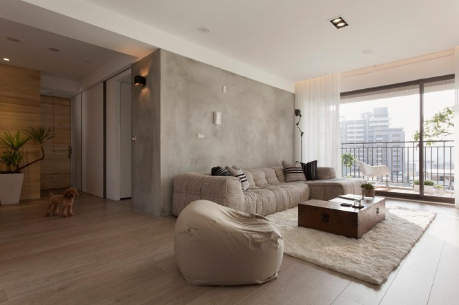 Concrete feature wall living room