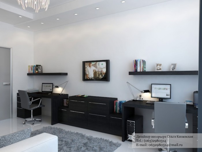 Simplistic in its approach, this scheme shows how to make the best of a shared home office situation, giving each worker their own personal space to stretch out their paperwork.
