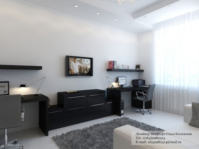 Black desk white home office