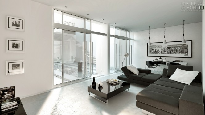Brown white living room