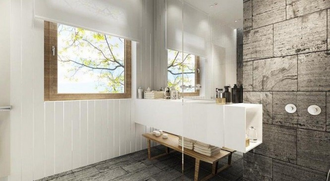 The natural materials in this bathroom play beautifully against each other, leaving little need for pomp and fancy, and therefore the fixtures and fittings are kept understated, sleek and secondary.