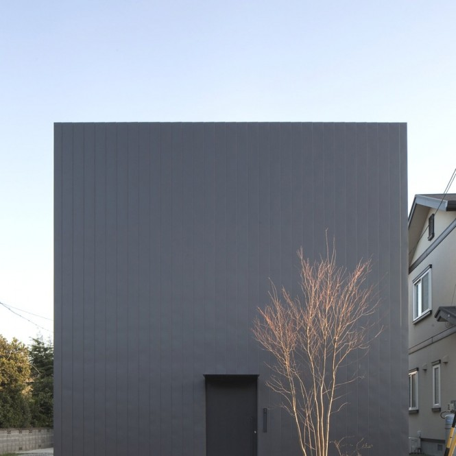 A married couple with three children inhabits the modern Japanese house that from the outside appears as a black cube, with an outer wall that screens the interior from the outside world completely. Once the door is opened, the warm yellow of larch plywood invites you in, and opens up before you like an ant's nest.