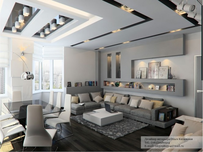 Contemporary cutaways make this ceiling a feature all on its own, but the complimentary linear design of adjacent wall storage finishes the look superbly.