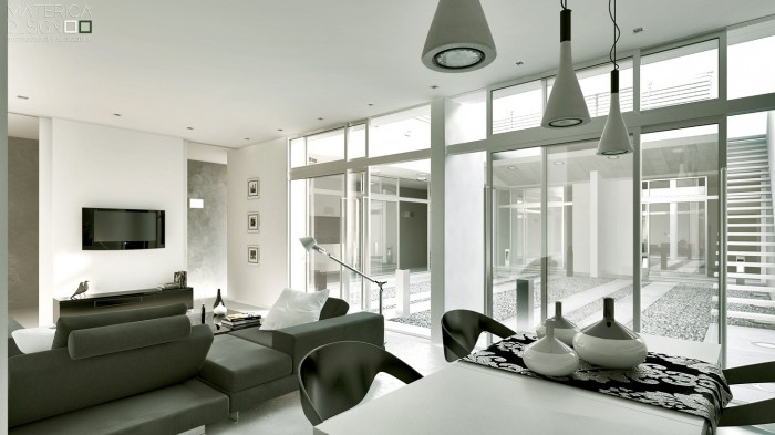 Gray white living room diner