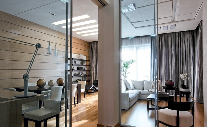 Interior glazed and mirrored doors create the feeling of increased space and natural light no matter what the dimensions of your home, so remember to consider all of your options rather than automatically opting for wood.