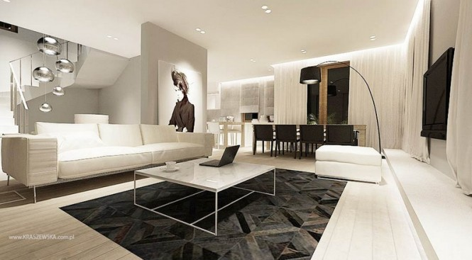 Modern monochrome living room decor