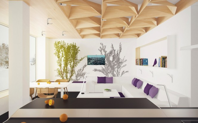 Purple white living room