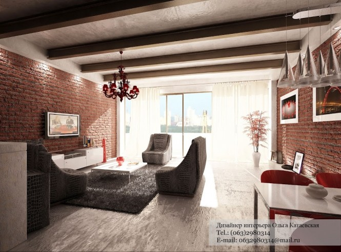 Red white gray living room